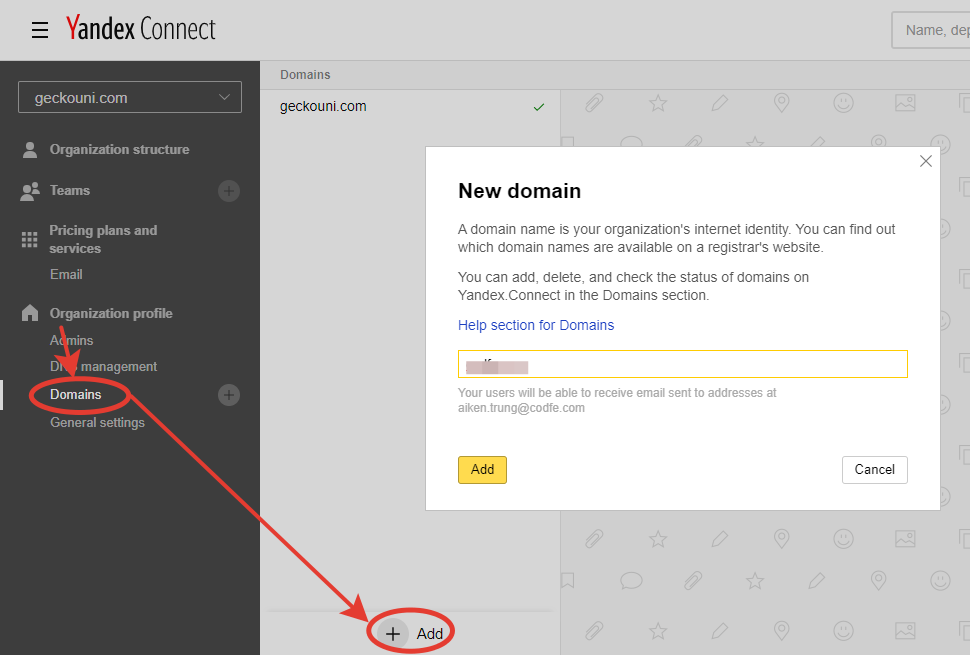 Thêm (add) domain vào yandex connect