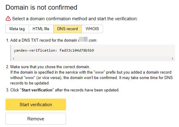 xác thực domain trên yandex connect bằng TXT Record