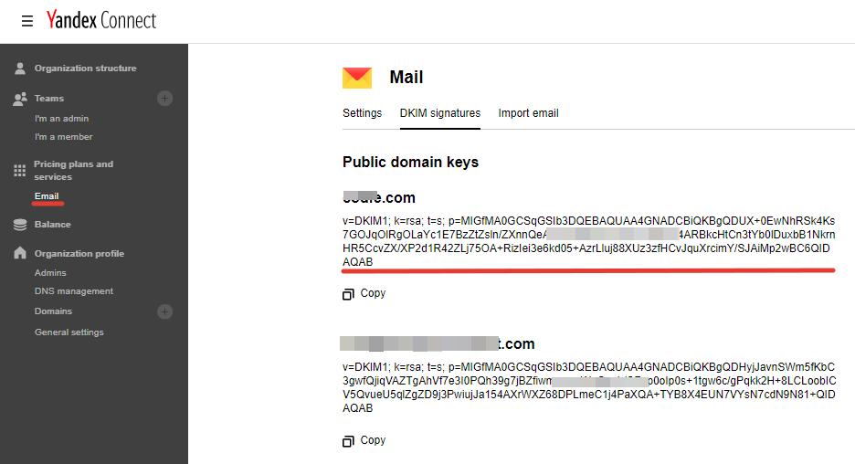 Lấy DKIM xác thực domain Yandex Connect