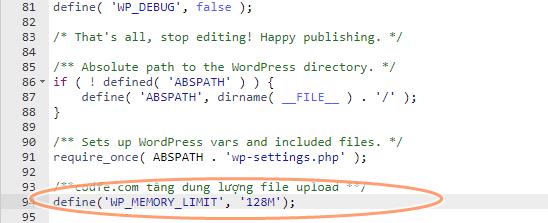 tang dung luong upload file bang wp-config