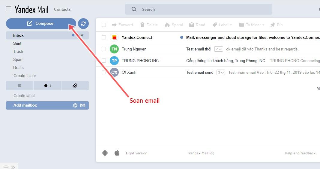 giao dien email yandex tren web