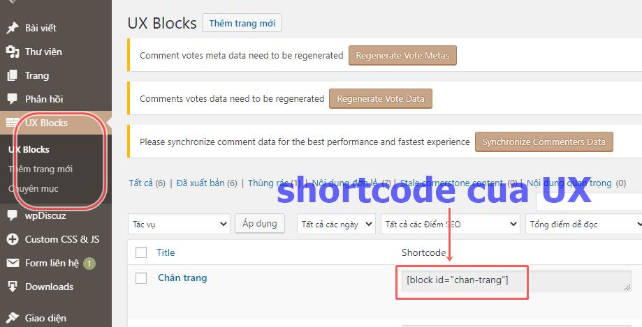 Shortcode của UX bilder sau khi tạo
