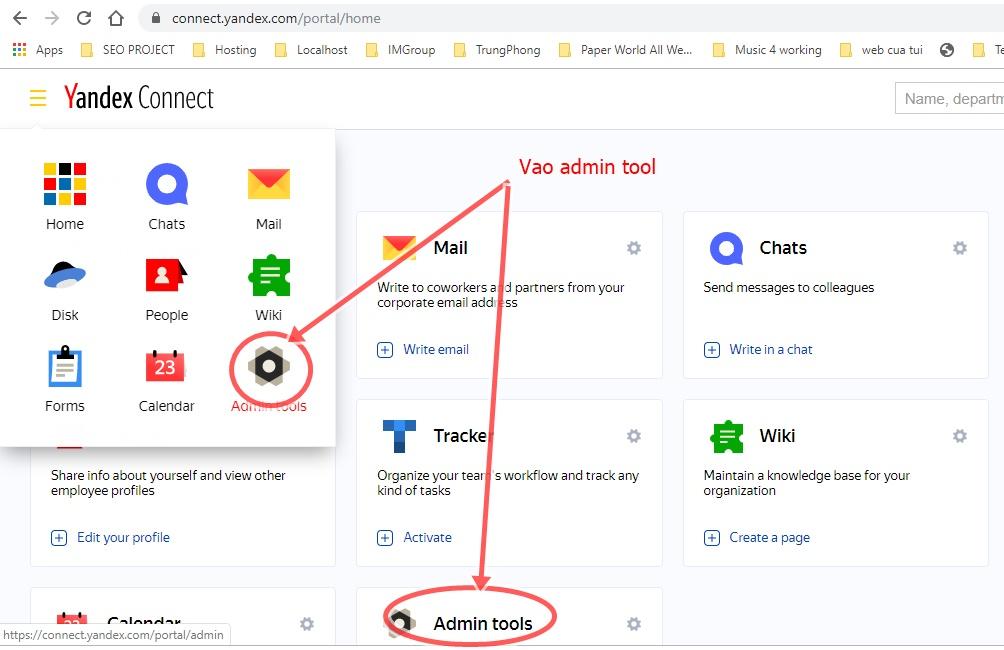 Vào admin tools trong connect yandex