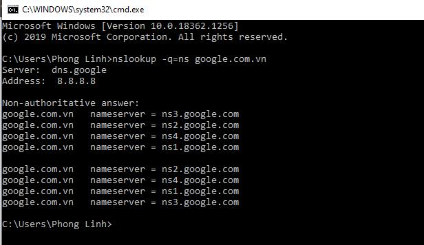 Kiểm tra nameserver domain
